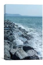 Lyme Regis breakwater rocks, Canvas Print
