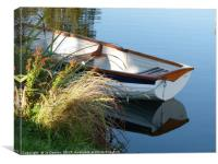 Dinghy moored at Surfleet Seas End, Lincolnshire, Canvas Print