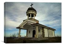 Hillside church in Haskovo district, Bulgaria, Canvas Print