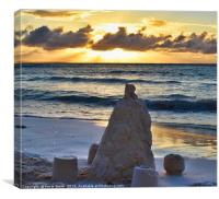 Sandcastle and a sunst, Canvas Print