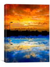 Abstract sunrise / sunset over silhouette village, Canvas Print