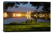 Truro Cathedral over the river at night, Canvas Print
