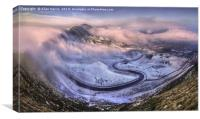 mam tor road winter Edale Valley, Canvas Print