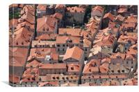 Looking down on Dubrovnik Old town roofs, Canvas Print
