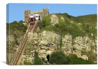 EAST HILL LIFT UP TO HASTINGS CASTLE., Canvas Print