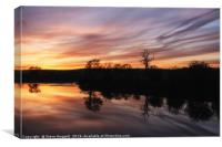 Sunset Reflections by The River Towy, Canvas Print