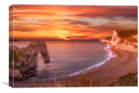 Durdle Door Dorset Sunset, Canvas Print