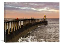 Whitby Pier at Sunset, Canvas Print
