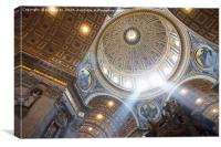 The interior of the Dome of St Peter`s Basilica. , Canvas Print