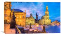 The old city of Dresden at dusk germany, Canvas Print