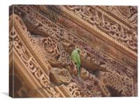 A parrot on top of a beautiful monument , Canvas Print