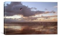 Kite Surfing at Ainsdale, Canvas Print