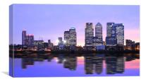 Docklands Canary Wharf sunset, Canvas Print