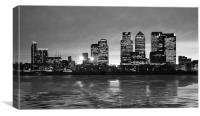 Docklands Canary Wharf sunset bw, Canvas Print