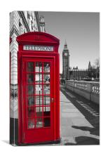 Big Ben Red Telephone box, Canvas Print