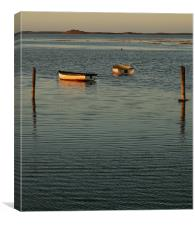 Sunset glow on the Boats, Canvas Print