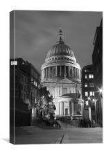 St Pauls Cathedral at London Attractions BW, Canvas Print