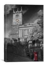 St Julians Church and passage BW, Canvas Print