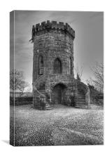 St Louis Tower Shrewsbury Regiment Castle BW, Canvas Print
