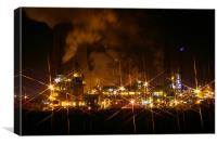 Chemical Works at night, Canvas Print