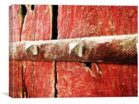 STEEL BOLT OVER RED WOOD , Canvas Print