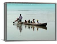 Tourists in a Log Boat, Canvas Print