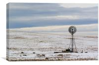 water pump in the snow Wyoming WY USA, Canvas Print