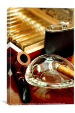 pipe, cigars and a flask of scotch whiskey , Canvas Print