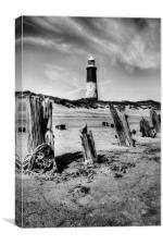 Spurn Point Lighthouse and Groynes, Canvas Print