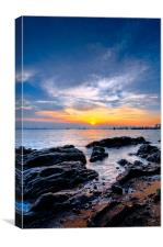 sunset on the rock, Canvas Print