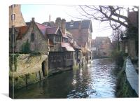 Bruges - Canal Scene, Canvas Print
