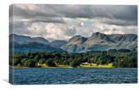 Across Lake Windermere to the Langdales, Canvas Print