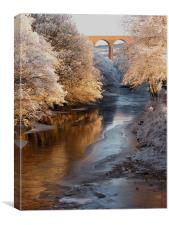 Snow and Ice on the River Nairn, Scotland, Canvas Print