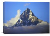 Machapuchare, the Fishtail Mountain, Pokhara at Da, Canvas Print