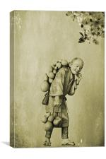 The Gourd Carrier, Canvas Print
