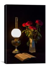 Reading by oil lamp, Canvas Print