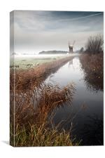 Mist lifting over Horsey MIll, Canvas Print