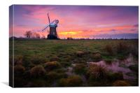 Marsh view of Horsey Mill, Canvas Print