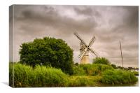 Thurne Mill from the river, Canvas Print