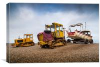 Two tractors and a boat!, Canvas Print