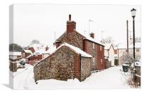 Flint cottage in snow, Canvas Print