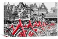 Red Bikes in Ghent, Canvas Print
