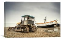 Aldeburgh Tractor and Boat, Canvas Print