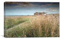Clifftop houses at Weybourne, Canvas Print