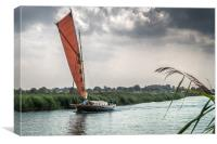 Yachting along the River Thurne, Canvas Print