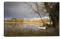 Moored at South Walsham Broad, Canvas Print