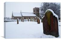Church and gravestone, Canvas Print