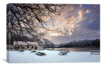 Benches in the snow, Canvas Print