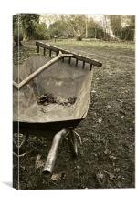 Wheelbarrow and wooden rake, Canvas Print