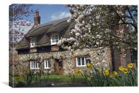Thatched house with blossom, Canvas Print